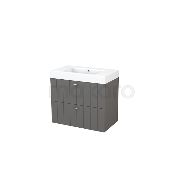 Badkamermeubel 80cm Modulo+ Basalt 2 Lades Lamel Wastafel Mineraalmarmer