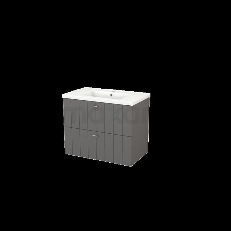 Badkamermeubel 80cm Modulo+ Basalt 2 Lades Lamel Wastafel Keramiek
