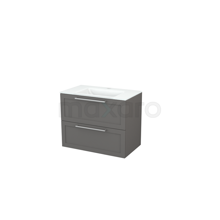Badkamermeubel 80cm Modulo+ Basalt 2 Lades Kader Wastafel Glas