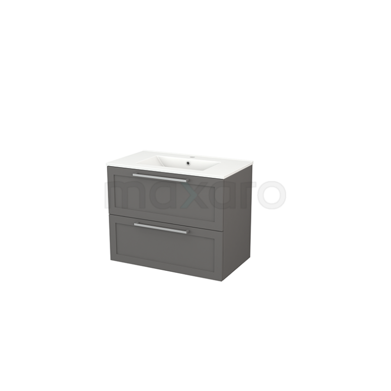 Badkamermeubel 80cm Modulo+ Basalt 2 Lades Kader Wastafel Keramiek