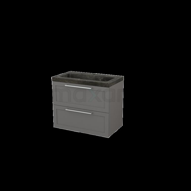 Badkamermeubel 80cm Modulo+ Basalt 2 Lades Kader Wastafel Natuursteen Blue Stone