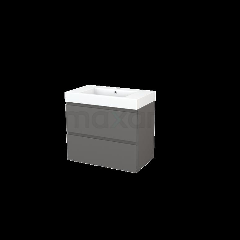 Badkamermeubel 80cm Modulo+ Basalt 2 Lades Greeploos Wastafel Mineraalmarmer