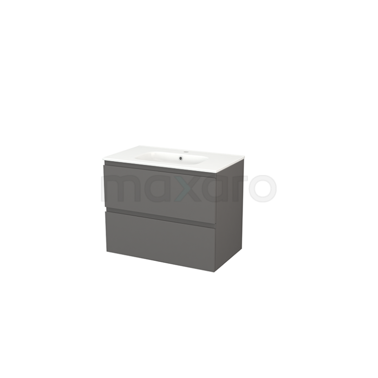 Badkamermeubel 80cm Modulo+ Basalt 2 Lades Greeploos Wastafel Keramiek