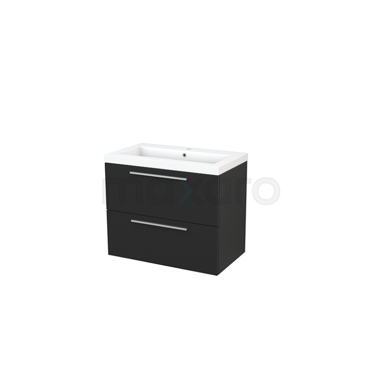 Badkamermeubel 80cm Modulo+ Carbon 2 Lades Vlak Wastafel Mineraalmarmer