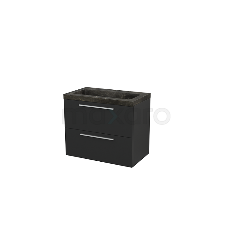 Badkamermeubel 80cm Modulo+ Carbon 2 Lades Vlak Wastafel Natuursteen Blue Stone