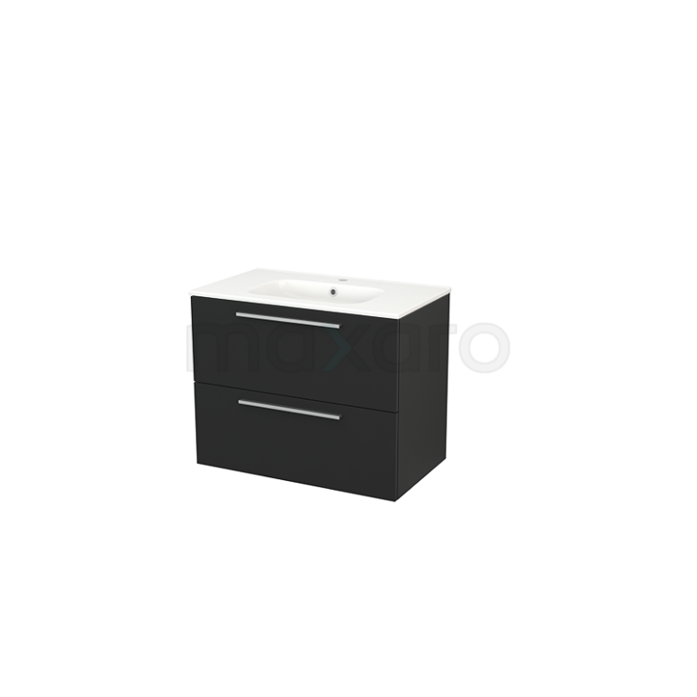 Maxaro Modulo+ BMP002800 Badkamermeubel 80cm Modulo+ Carbon 2 Lades Vlak Wastafel Keramiek