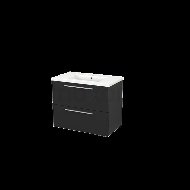 Badkamermeubel 80cm Modulo+ Carbon 2 Lades Vlak Wastafel Keramiek