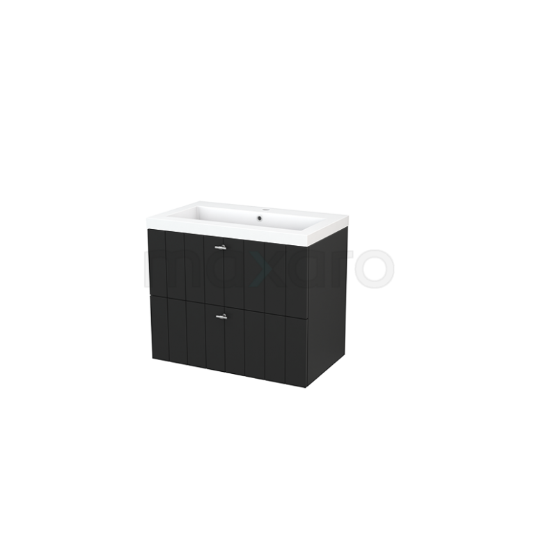 Badkamermeubel 80cm Modulo+ Carbon 2 Lades Lamel Wastafel Mineraalmarmer