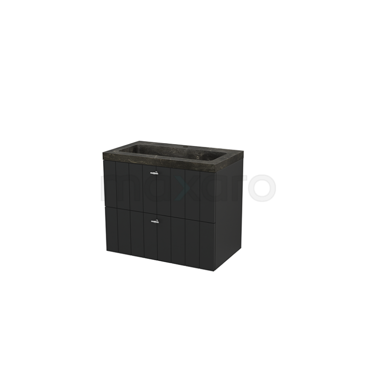 Badkamermeubel 80cm Modulo+ Carbon 2 Lades Lamel Wastafel Natuursteen Blue Stone