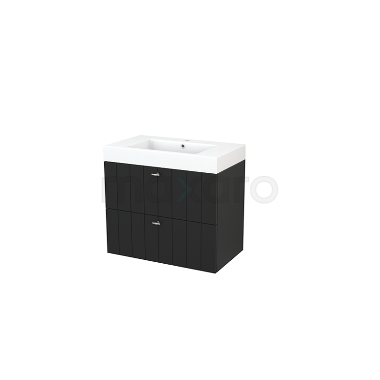 Maxaro Modulo+ BMP002808 Badkamermeubel 80cm Modulo+ Carbon 2 Lades Lamel Wastafel Mineraalmarmer