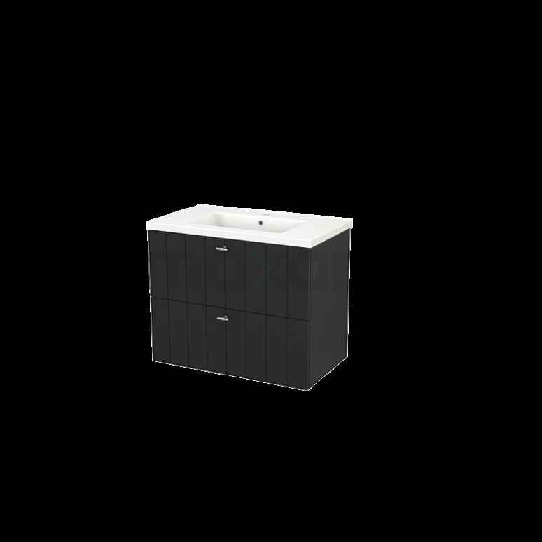 Maxaro Modulo+ BMP002811 Badkamermeubel 80cm Modulo+ Carbon 2 Lades Greeploos Keramiek