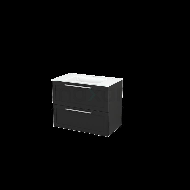Badkamermeubel 80cm Modulo+ Carbon 2 Lades Kader Wastafel Glas