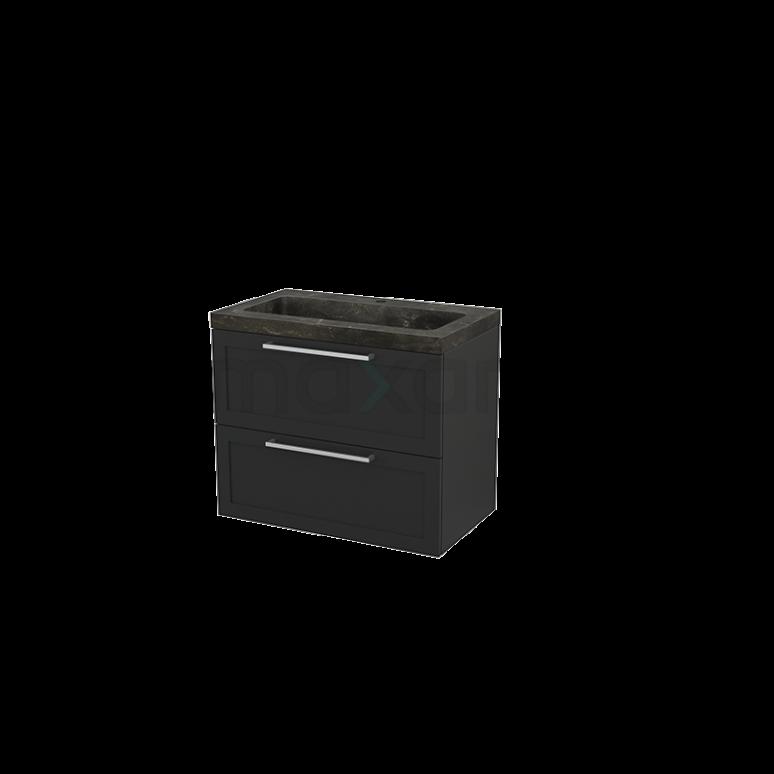 Badkamermeubel 80cm Modulo+ Carbon 2 Lades Kader Wastafel Natuursteen Blue Stone