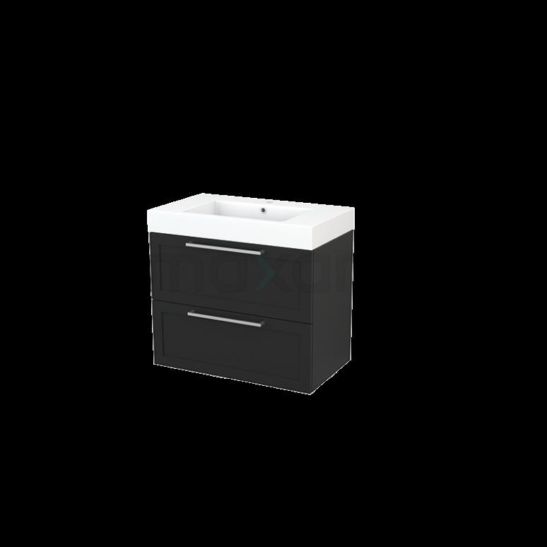 Badkamermeubel 80cm Modulo+ Carbon 2 Lades Kader Wastafel Mineraalmarmer