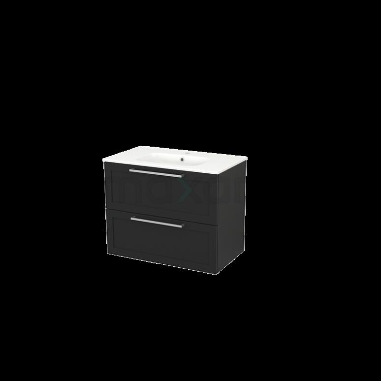 Badkamermeubel 80cm Modulo+ Carbon 2 Lades Kader Wastafel Keramiek