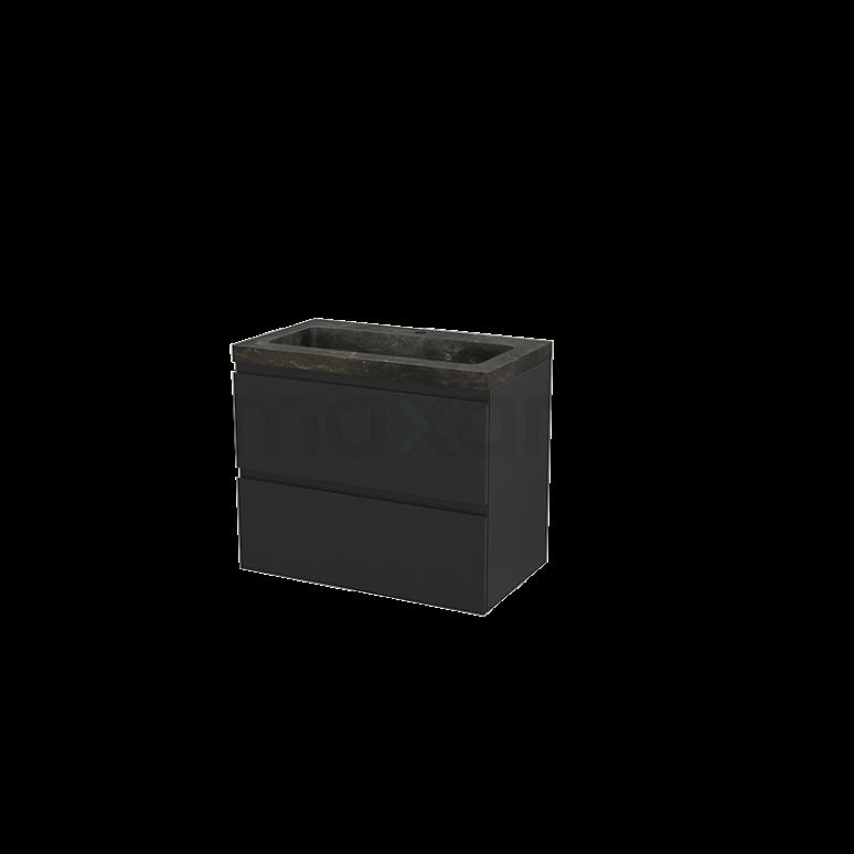 Badkamermeubel 80cm Modulo+ Carbon 2 Lades Greeploos Wastafel Natuursteen Blue Stone