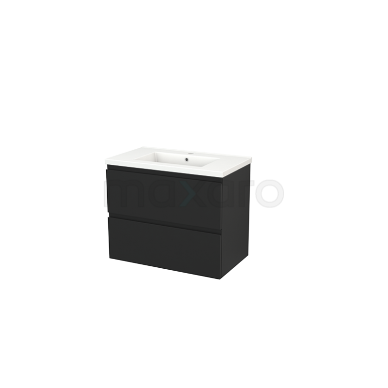 Maxaro Modulo+ BMP002831 Badkamermeubel 80cm Modulo+ Carbon 2 Lades Greeploos Wastafel Keramiek