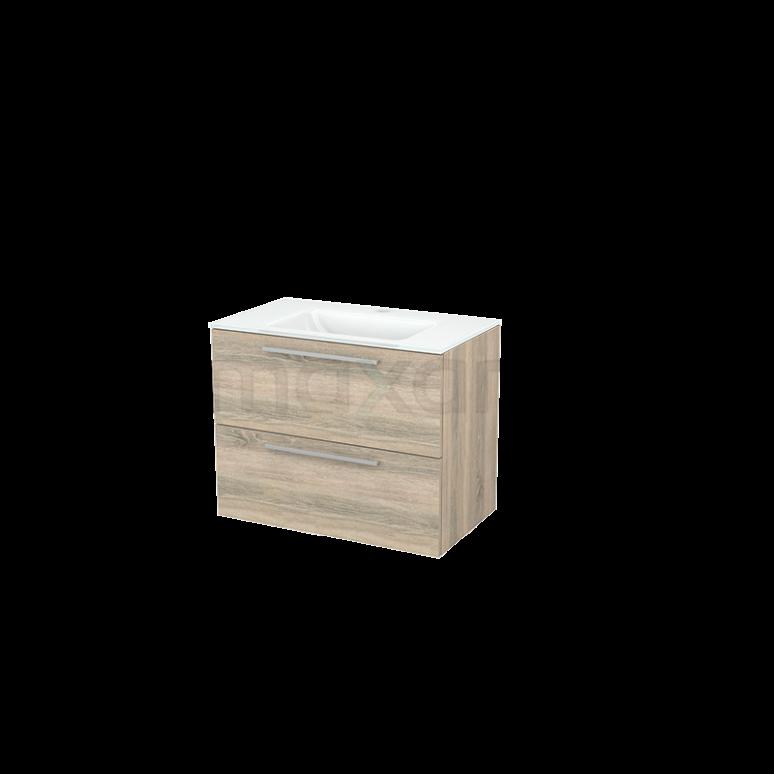 Badkamermeubel 80cm Modulo+ Eiken 2 Lades Vlak Wastafel Glas