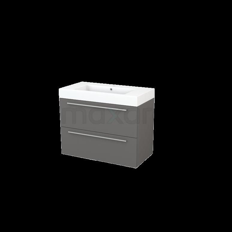 Maxaro Modulo+ BMP002959 Badkamermeubel 90cm Modulo+ Basalt 2 Lades Vlak Wastafel Mineraalmarmer