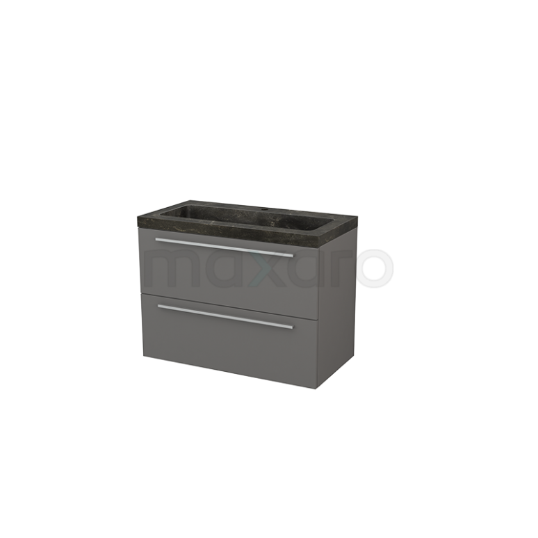 Maxaro Modulo+ BMP002960 Badkamermeubel 90cm Modulo+ Basalt 2 Lades Vlak Wastafel Natuursteen Blue Stone