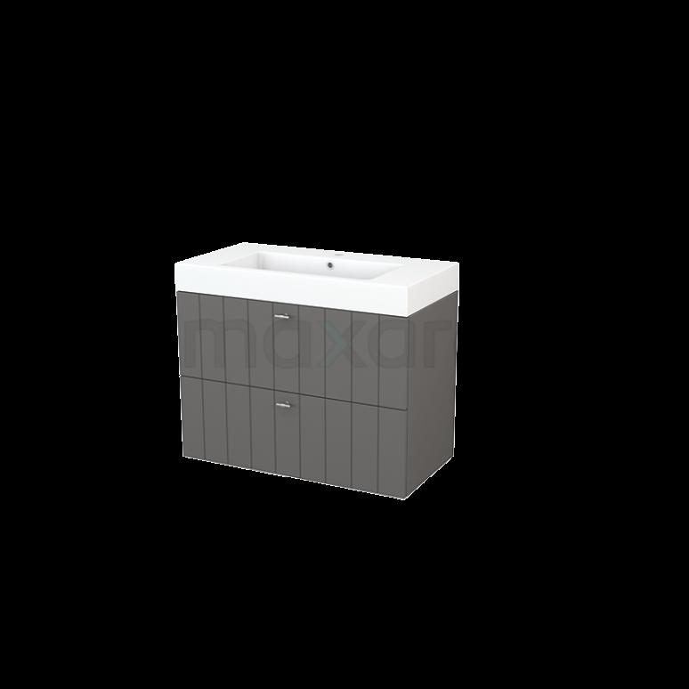Badkamermeubel 90cm Modulo+ Basalt 2 Lades Lamel Wastafel Mineraalmarmer
