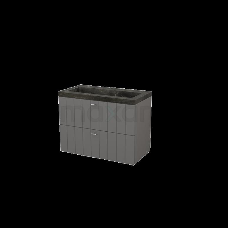 Badkamermeubel 90cm Modulo+ Basalt 2 Lades Lamel Wastafel Natuursteen Blue Stone