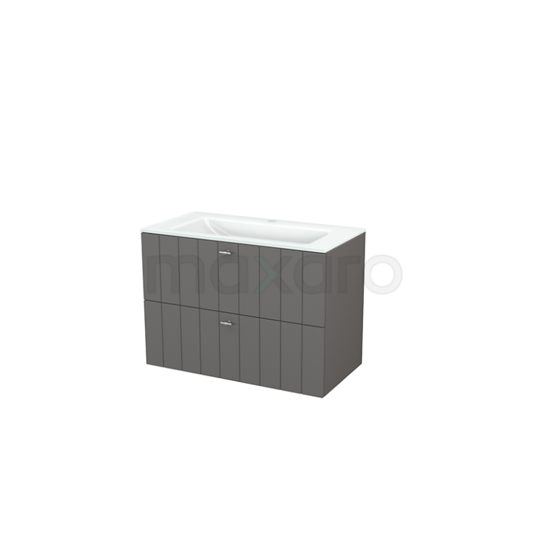Badkamermeubel 90cm Modulo+ Basalt 2 Lades Lamel Wastafel Glas