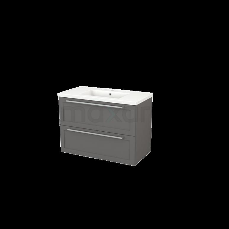 Badkamermeubel 90cm Modulo+ Basalt 2 Lades Kader Wastafel Keramiek
