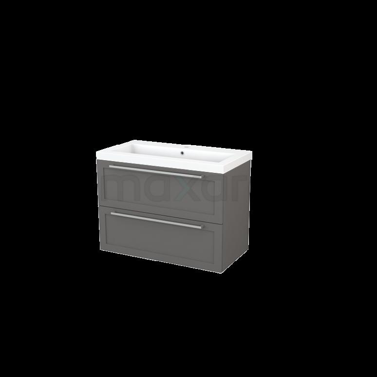 Badkamermeubel 90cm Modulo+ Basalt 2 Lades Kader Wastafel Mineraalmarmer