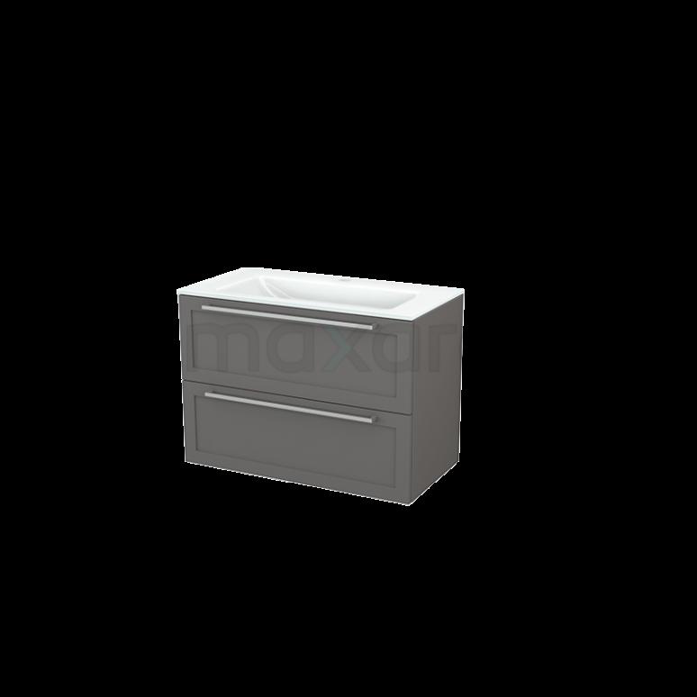 Badkamermeubel 90cm Modulo+ Basalt 2 Lades Kader Wastafel Glas