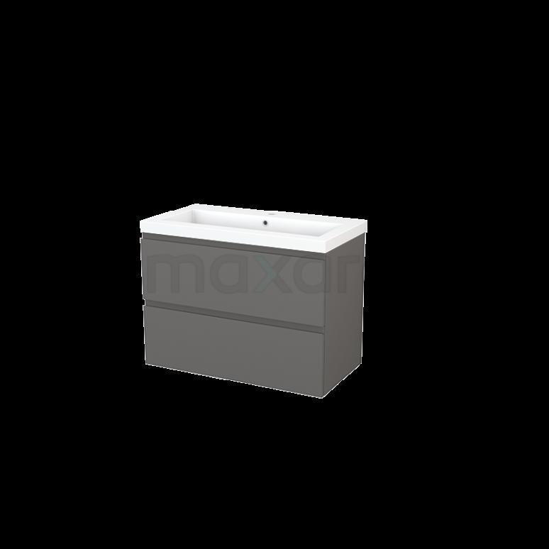 Badkamermeubel 90cm Modulo+ Basalt 2 Lades Greeploos Wastafel Mineraalmarmer