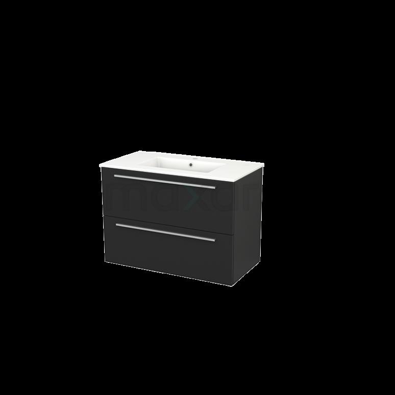 Maxaro Modulo+ BMP002990 Badkamermeubel 90cm Modulo+ Carbon 2 Lades Greeploos Keramiek