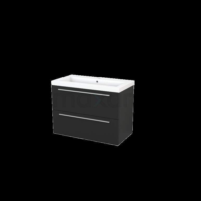 Badkamermeubel 90cm Modulo+ Carbon 2 Lades Vlak Wastafel Mineraalmarmer