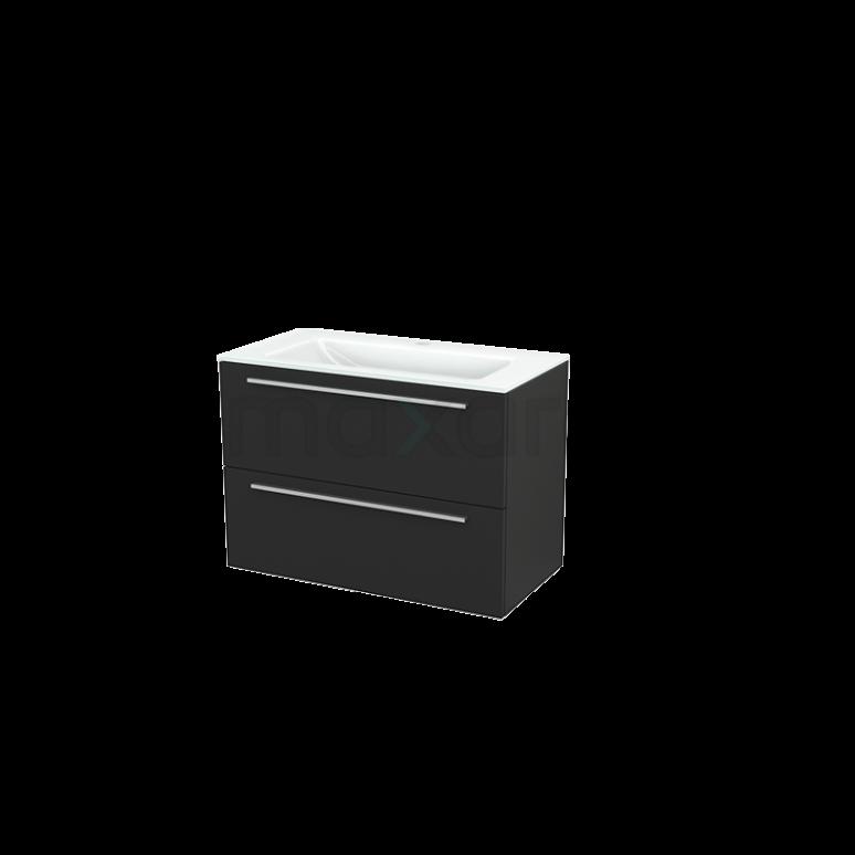 Badkamermeubel 90cm Modulo+ Carbon 2 Lades Vlak Wastafel Glas