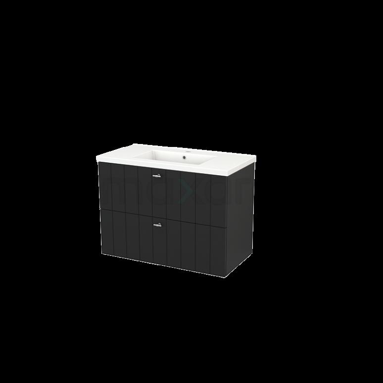 Badkamermeubel 90cm Modulo+ Carbon 2 Lades Lamel Wastafel Keramiek