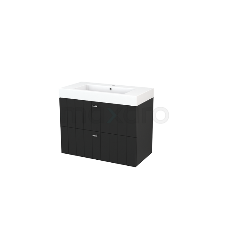 Badkamermeubel 90cm Modulo+ Carbon 2 Lades Lamel Wastafel Mineraalmarmer