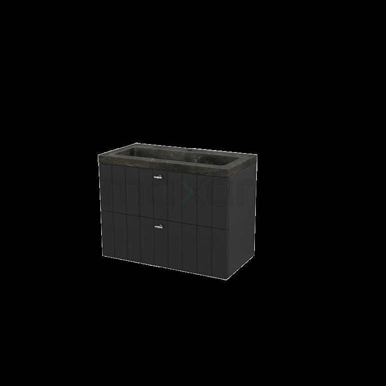 Badkamermeubel 90cm Modulo+ Carbon 2 Lades Lamel Wastafel Natuursteen Blue Stone