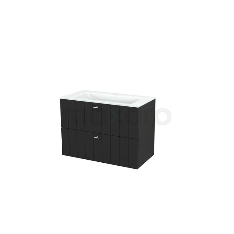 Badkamermeubel 90cm Modulo+ Carbon 2 Lades Lamel Wastafel Glas