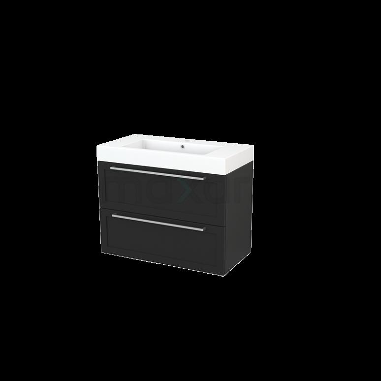 Maxaro Modulo+ BMP003007 Badkamermeubel 90cm Modulo+ Carbon 2 Lades Kader Mineraalmarmer