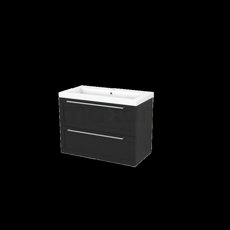 Badkamermeubel 90cm Modulo+ Carbon 2 Lades Kader Wastafel Mineraalmarmer