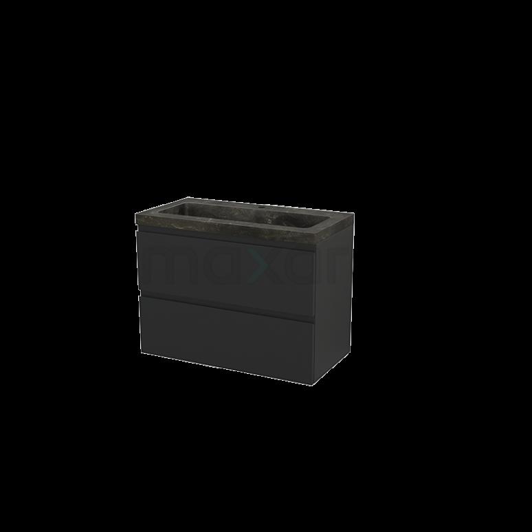 Badkamermeubel 90cm Modulo+ Carbon 2 Lades Greeploos Wastafel Natuursteen Blue Stone