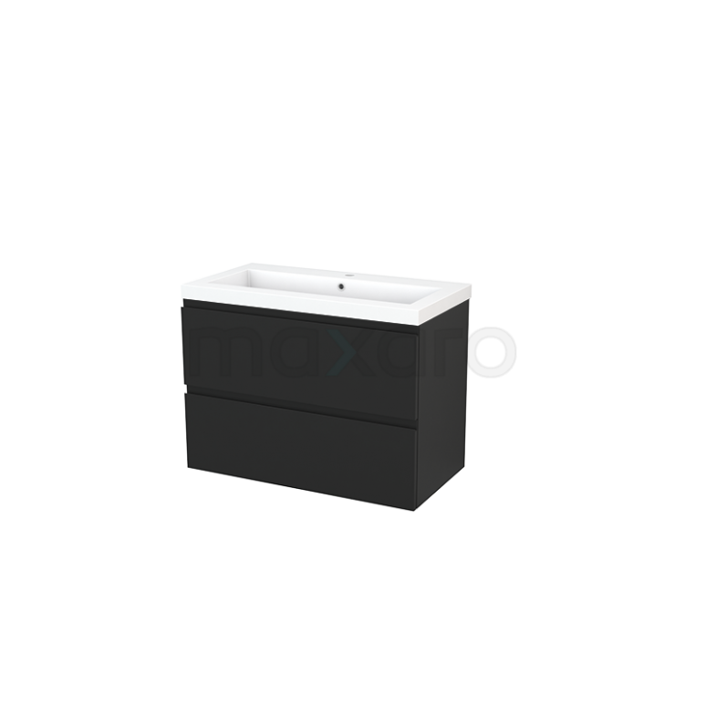 Badkamermeubel 90cm Modulo+ Carbon 2 Lades Greeploos Wastafel Mineraalmarmer
