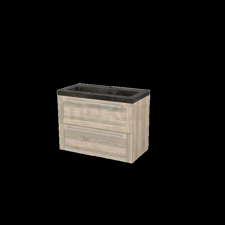 Badkamermeubel 90cm Modulo+ Eiken 2 Lades Kader Wastafel Natuursteen Blue Stone
