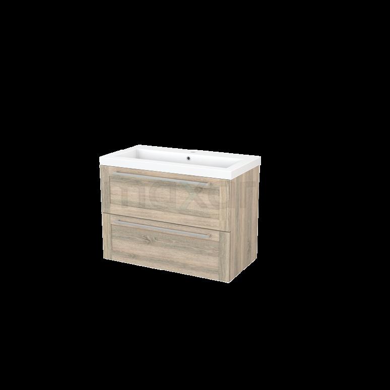 Badkamermeubel 90cm Modulo+ Eiken 2 Lades Kader Wastafel Mineraalmarmer