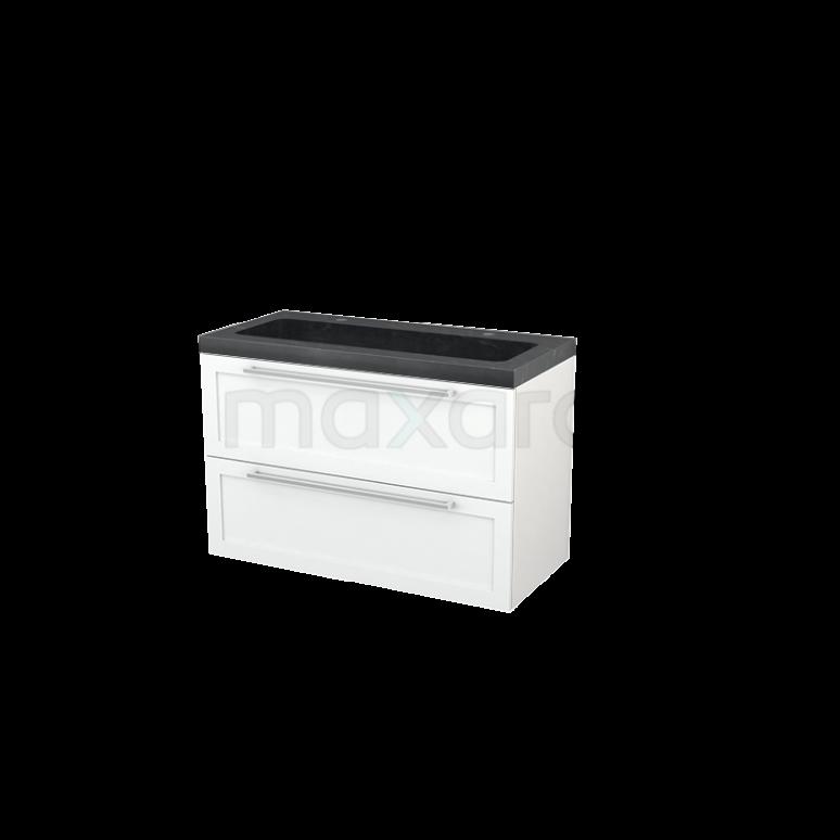 Badkamermeubel 100cm Modulo+ Mat Wit 2 Lades Kader Wastafel Natuursteen Graniet
