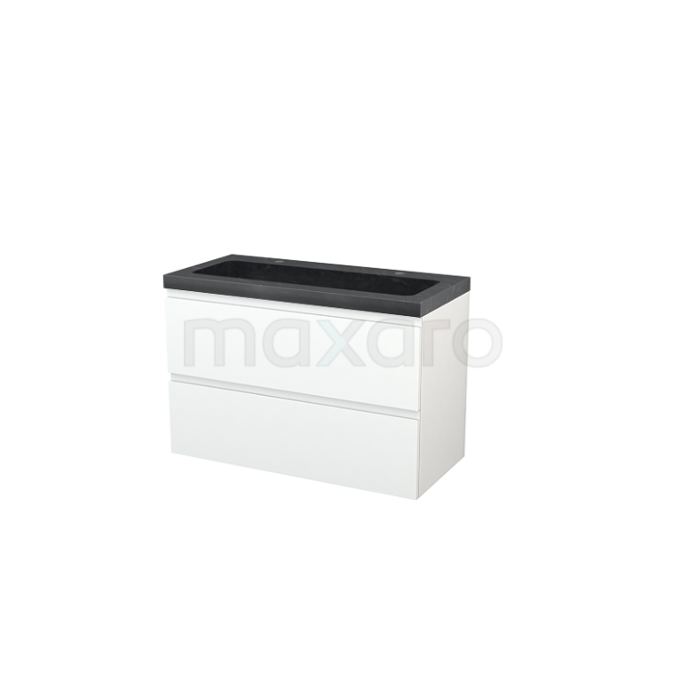 Maxaro Modulo+ BMP003150 Badkamermeubel 100cm Modulo+ Mat Wit 2 Lades Greeploos Wastafel Natuursteen Graniet