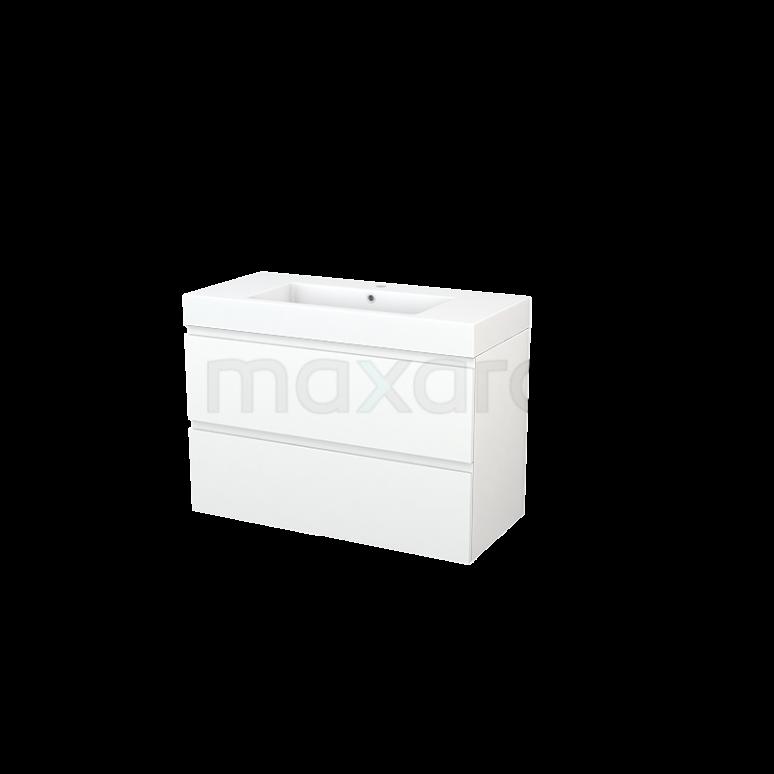 Maxaro Modulo+ BMP003152 Badkamermeubel 100cm Modulo+ Mat Wit 2 Lades Greeploos Mineraalmarmer