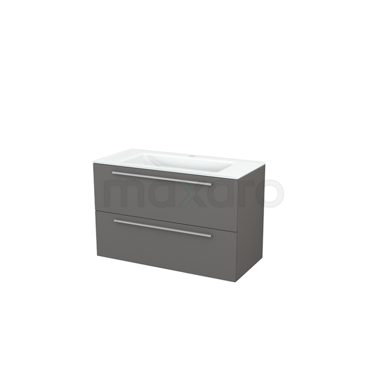 Badkamermeubel 100cm Modulo+ Basalt 2 Lades Vlak Wastafel Glas