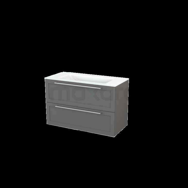 Badkamermeubel 100cm Modulo+ Basalt 2 Lades Kader Wastafel Glas