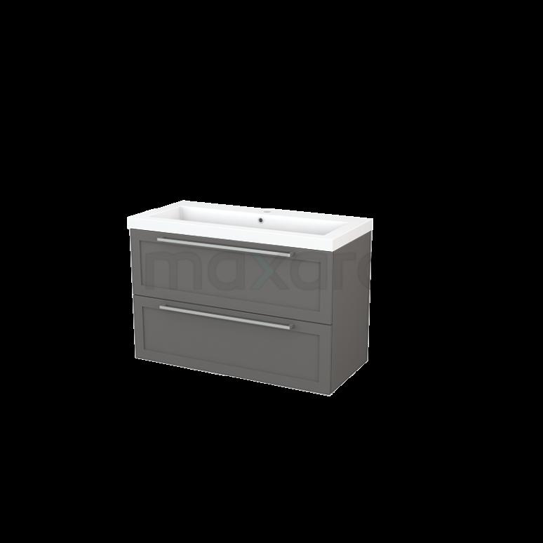 Maxaro Modulo+ BMP003182 Badkamermeubel 100cm Modulo+ Basalt 2 Lades Kader Wastafel Mineraalmarmer